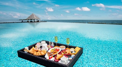 Floating Breakfast in the Maldives